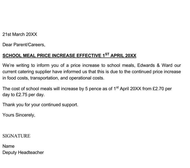Price Increase Letter Template 08
