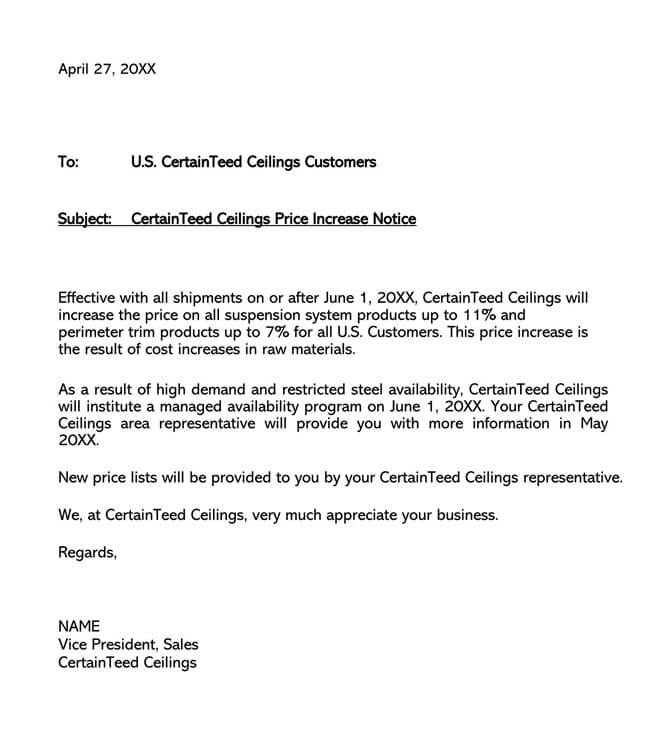 Price Increase Letter Template 10