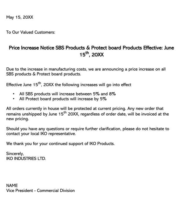 Price Increase Letter Template 11