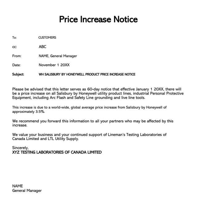 Price Increase Letter Template 13