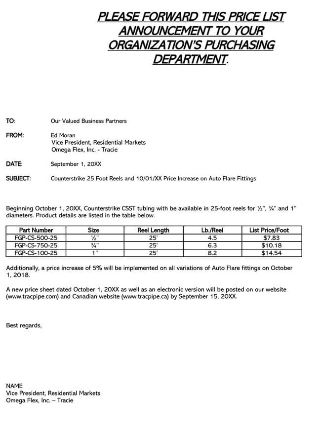 Price Increase Letter Template 16