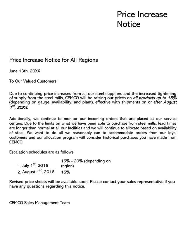 Price Increase Letter Template 18