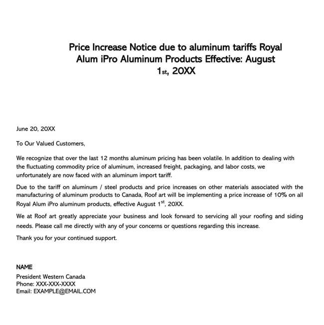 Price Increase Letter Template 19