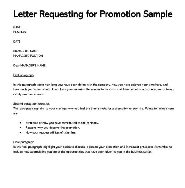 Promotion Request Letter 10