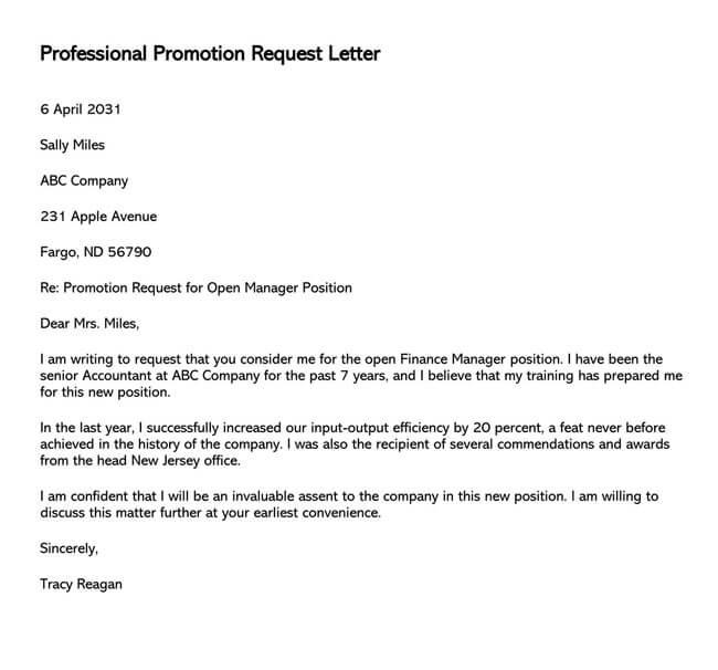 Promotion Request Letter 12