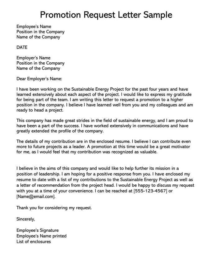 Promotion Request Letter 14