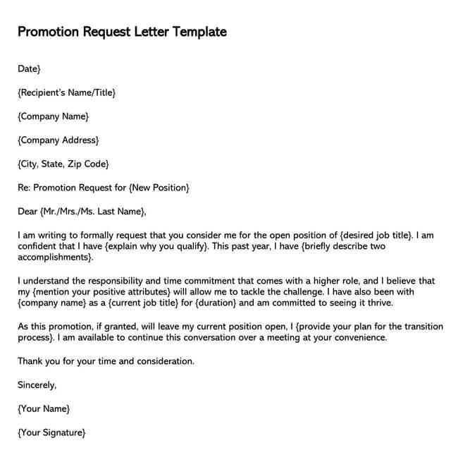 Promotion Request Letter 15