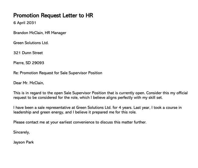 Promotion Request Letter 16
