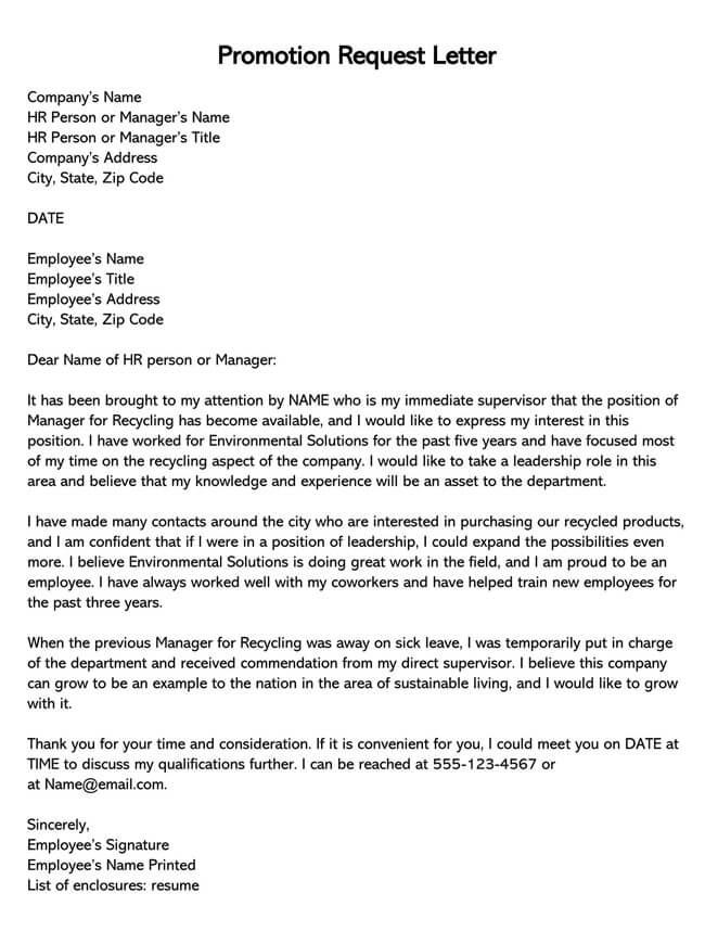 Promotion Request Letter 18