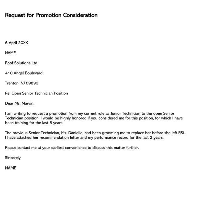 Promotion Request Letter 20