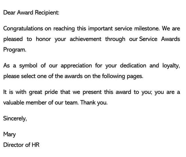 Recognition Letter for Achieving Milestones