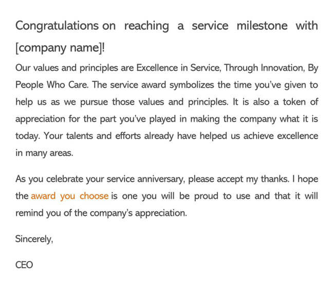 Recognition Letter for Company Anniversary 01