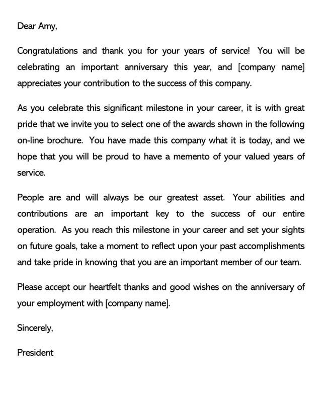 Recognition Letter for Company Anniversary 02