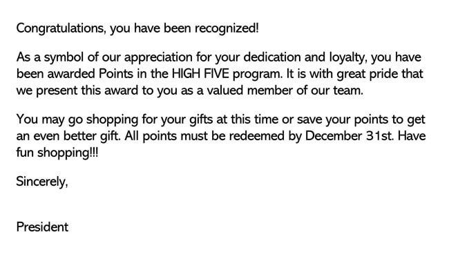 Recognition Letter for Dedication 01