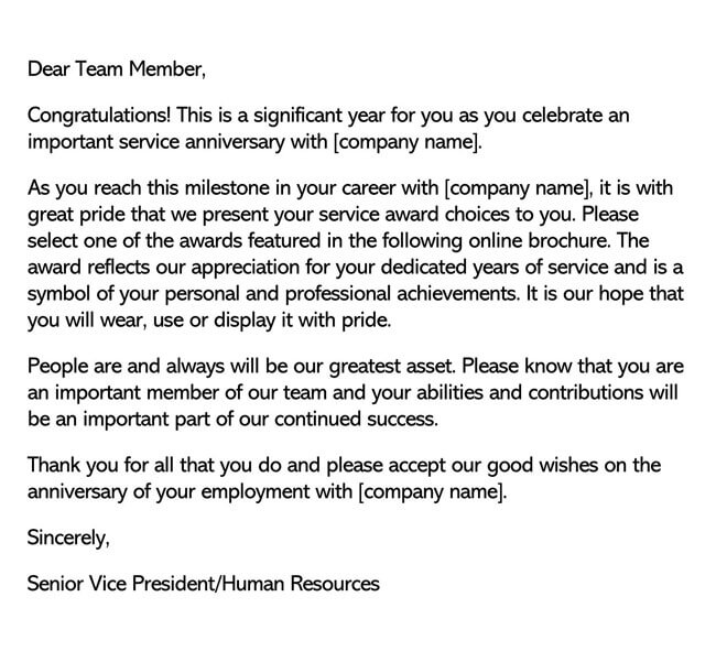Recognition Letter for Service Anniversary 01
