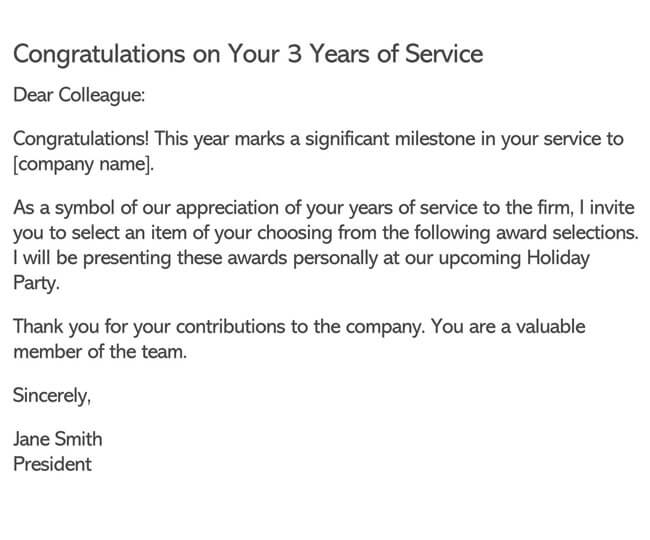 Recognition Letter for Three Year Service