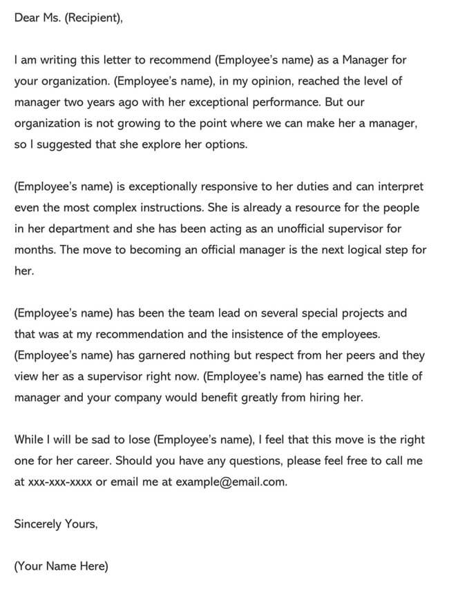 Recommendation Letter From Manager Template 01