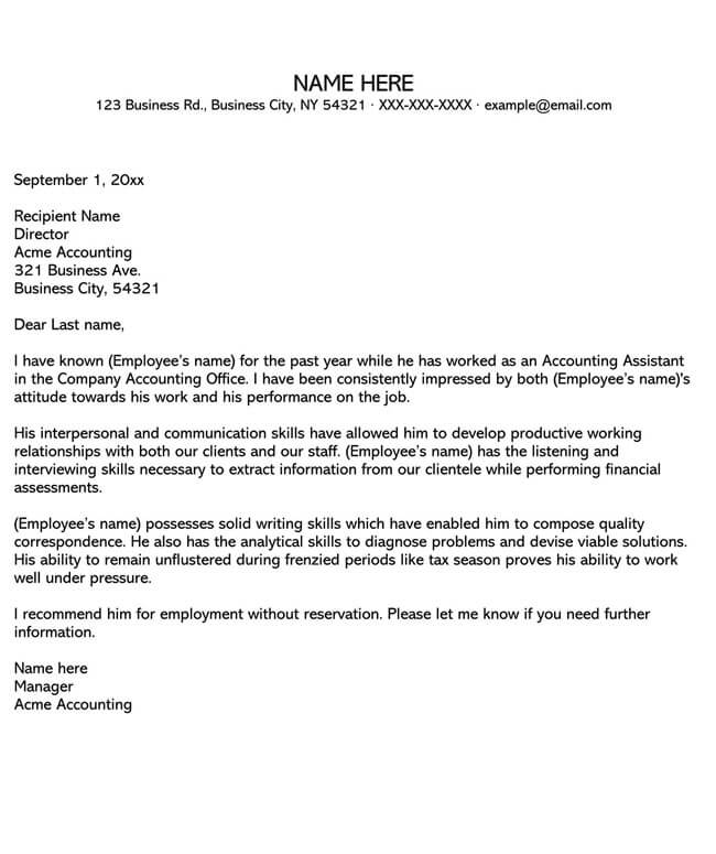 Recommendation Letter From Manager Template 02