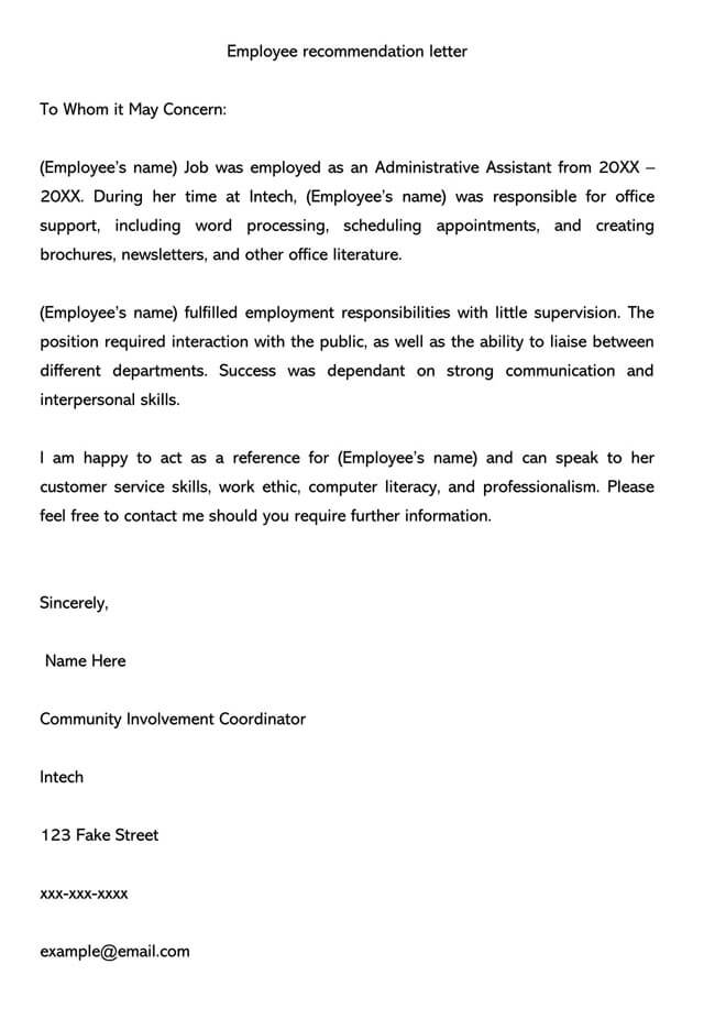 Recommendation Letter From Manager Template 04