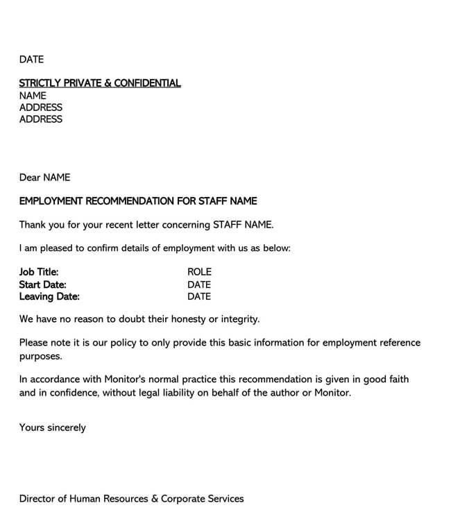 Recommendation Letter From Manager Template 05