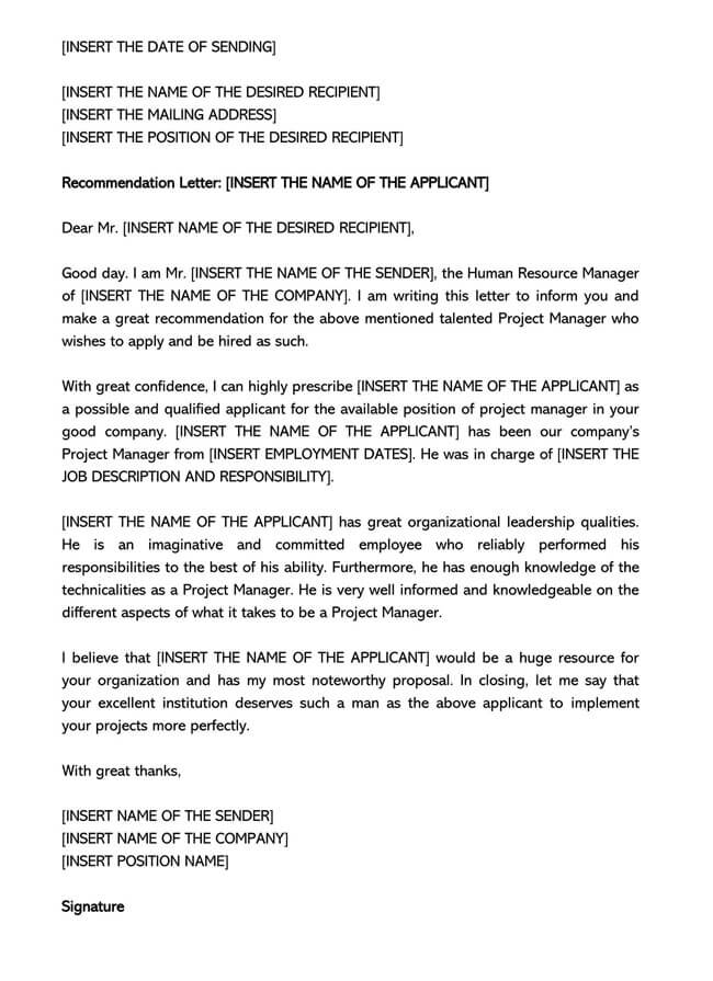 Recommendation Letter From Manager Template 06