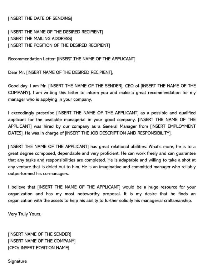 Recommendation Letter From Manager Template 08
