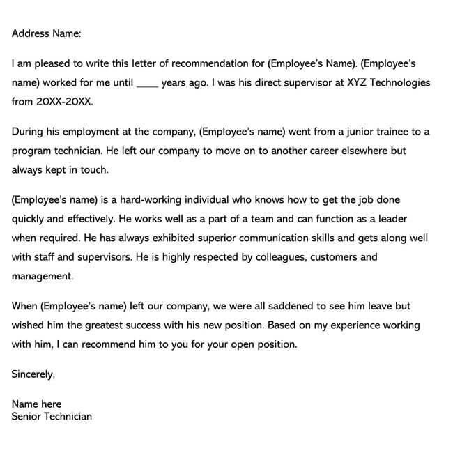 Recommendation Letter From Manager Template 10