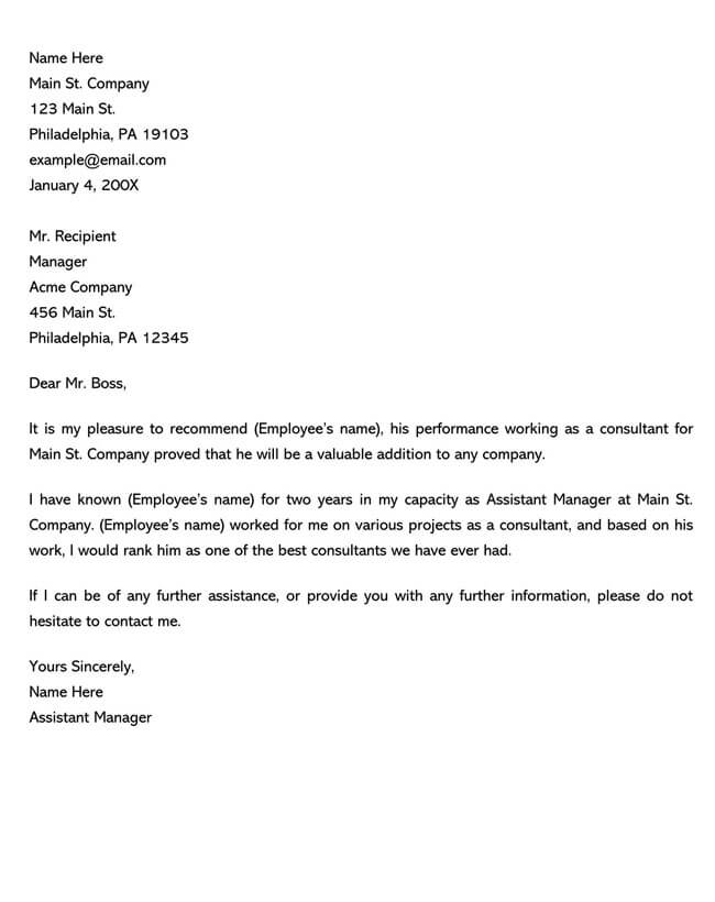 Recommendation Letter From Manager Template 11