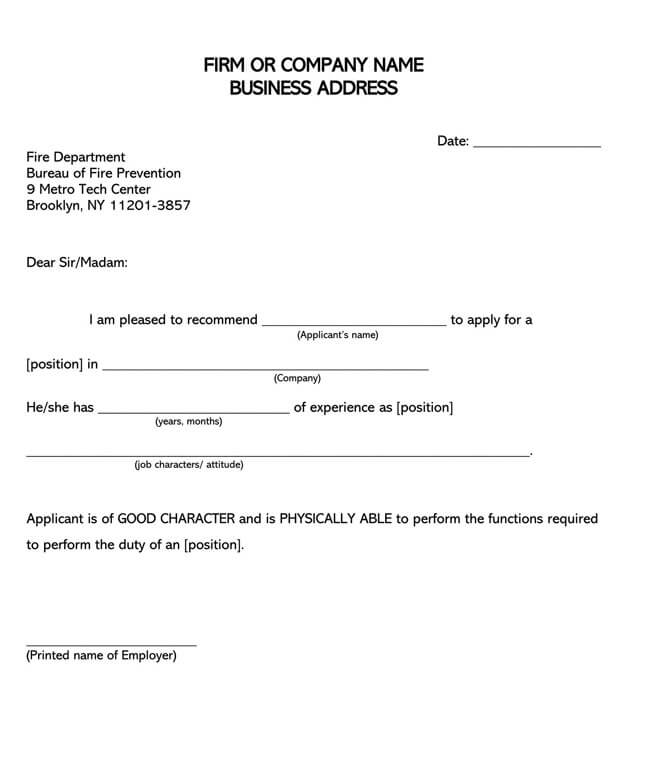 Recommendation Letter From Manager Template 12