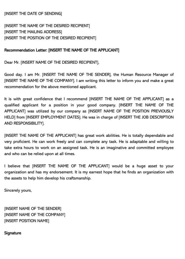 Recommendation Letter From Manager Template 17