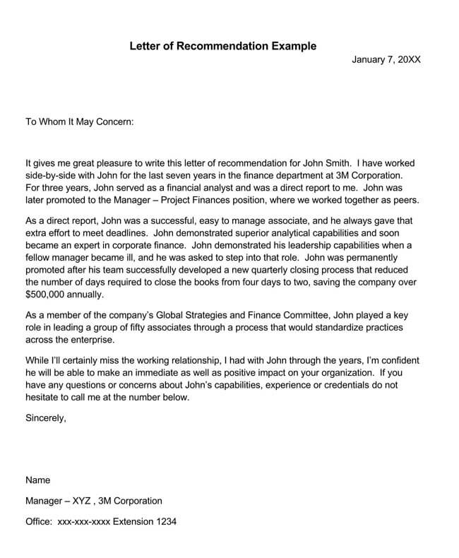 Recommendation Letter From Manager Template 19