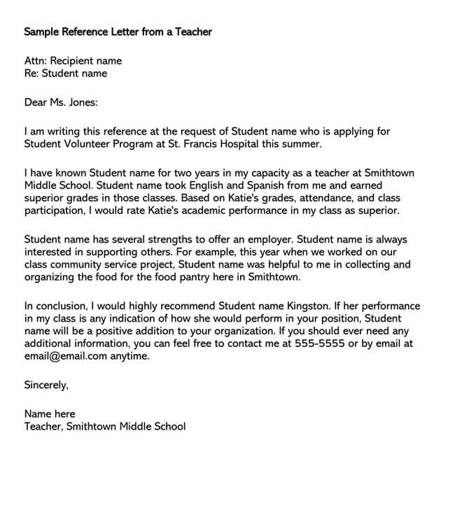 Recommendation Letter From Teacher Template 01