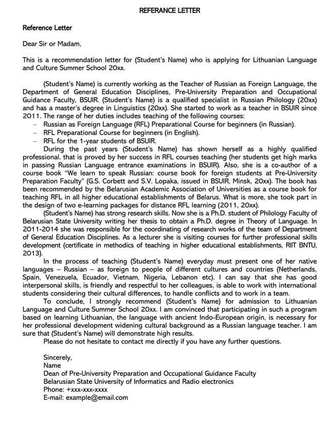 Recommendation Letter From Teacher Template 02