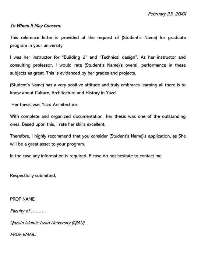 Recommendation Letter From Teacher Template 03