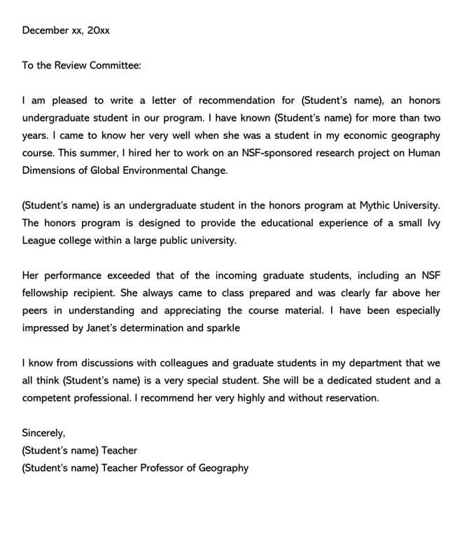 Recommendation Letter From Teacher Template 05
