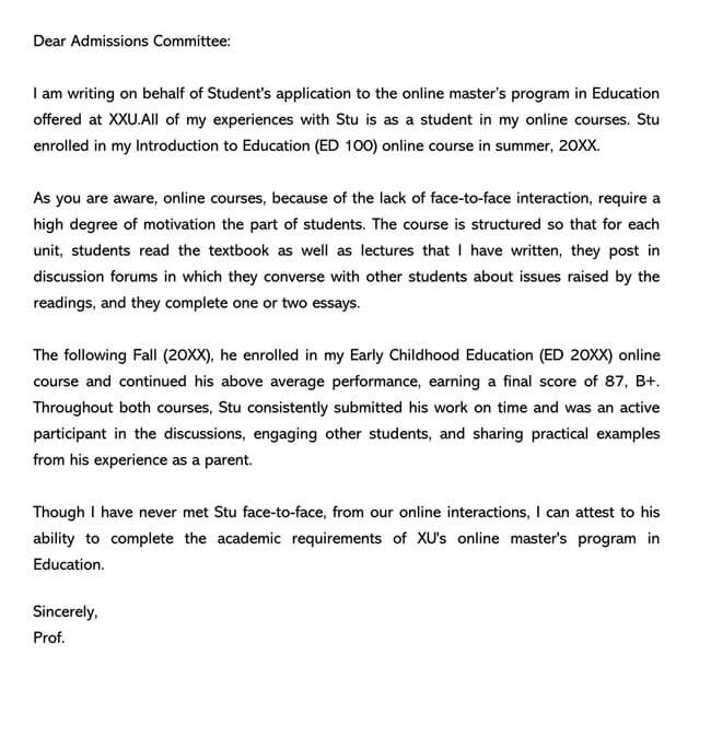 Recommendation Letter From Teacher Template 08