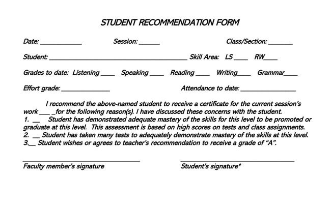 Recommendation Letter From Teacher Template 13