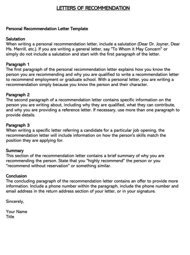 Recommendation Letter From Teacher Template 15