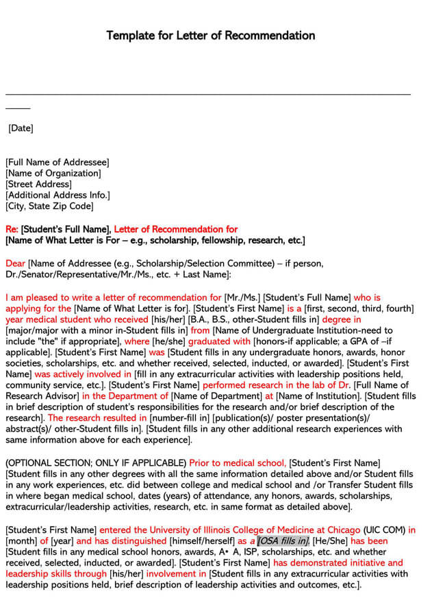 Recommendation Letter From Teacher Template 18