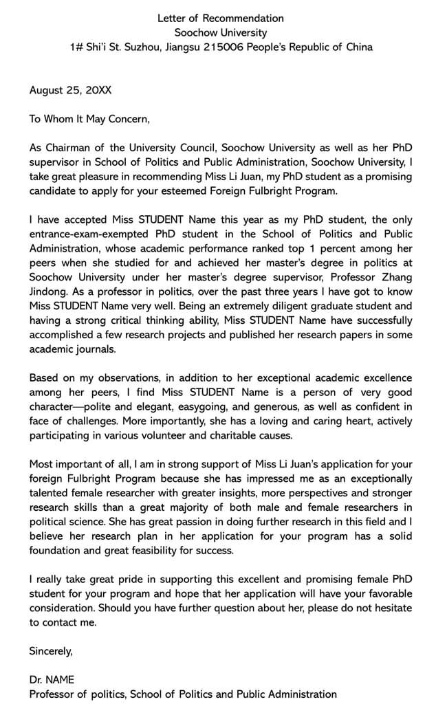 Recommendation Letter From Teacher Template 19