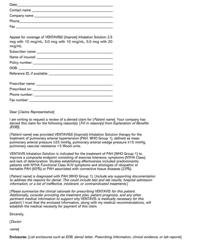 Review Requesting Appeal Letter