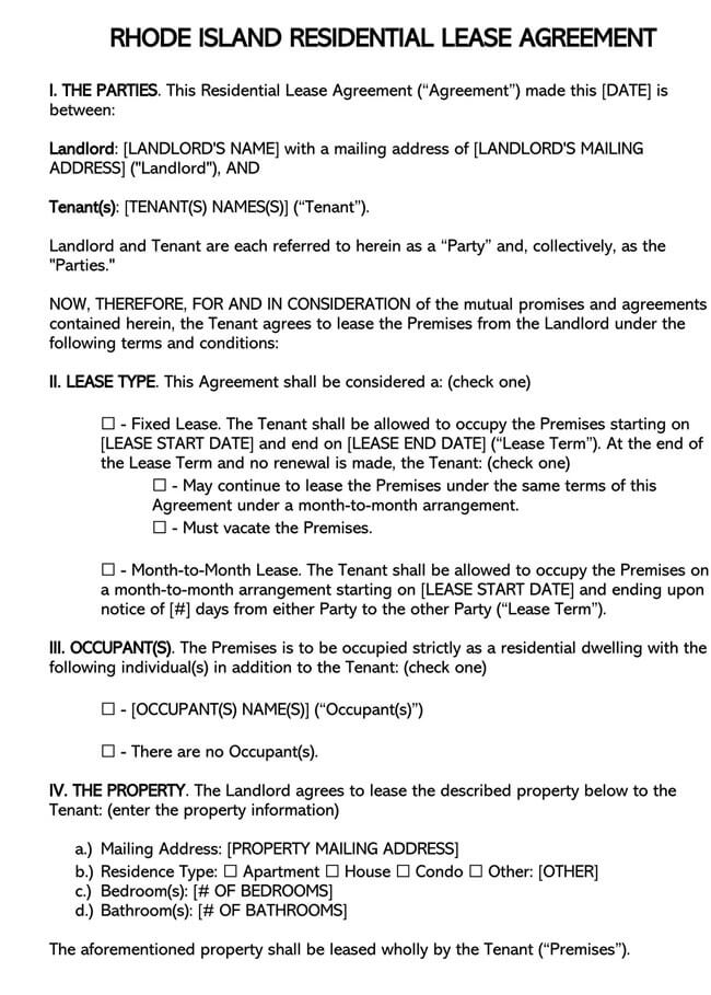 Rhode Island Residential Lease Agreement