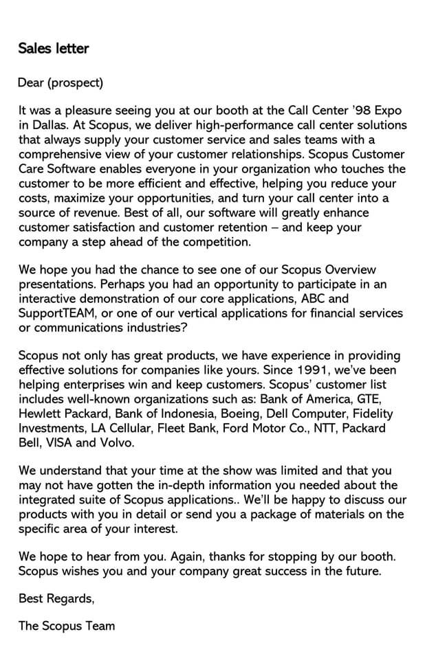 Sales Letter Template 13
