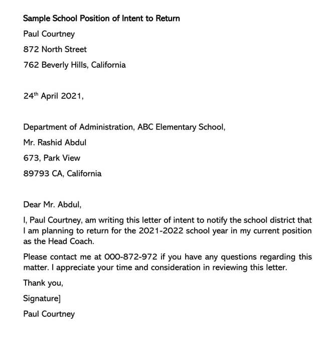 School Position Letter of Intent to Return 01