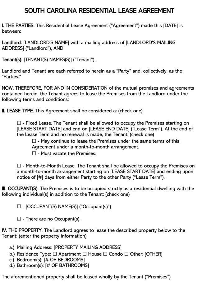 South Carolina Residential Lease Agreement