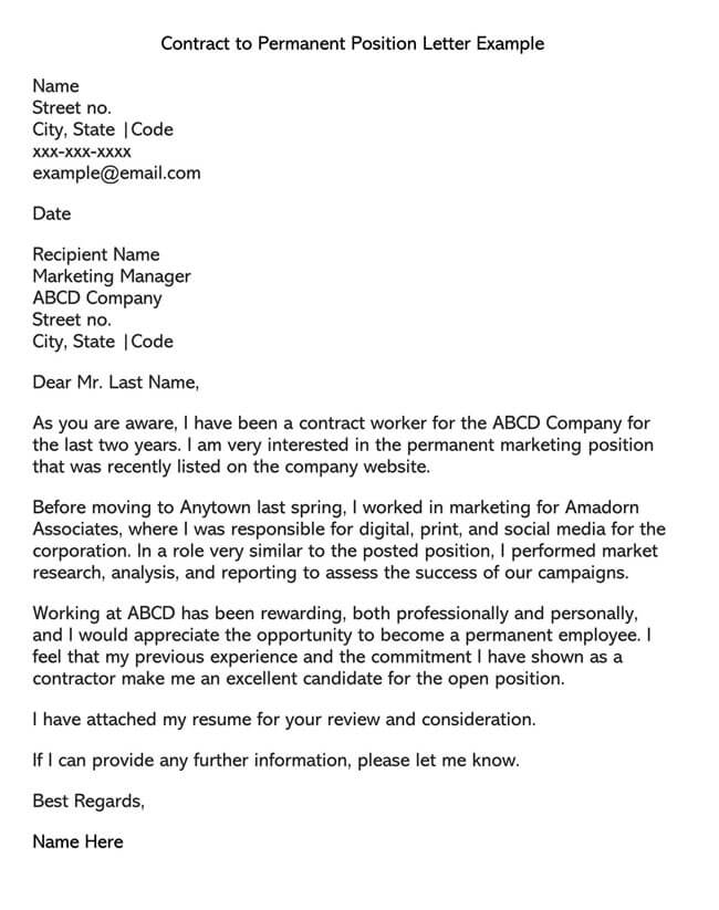 Temporary to Permanent Employment Request Letter 01
