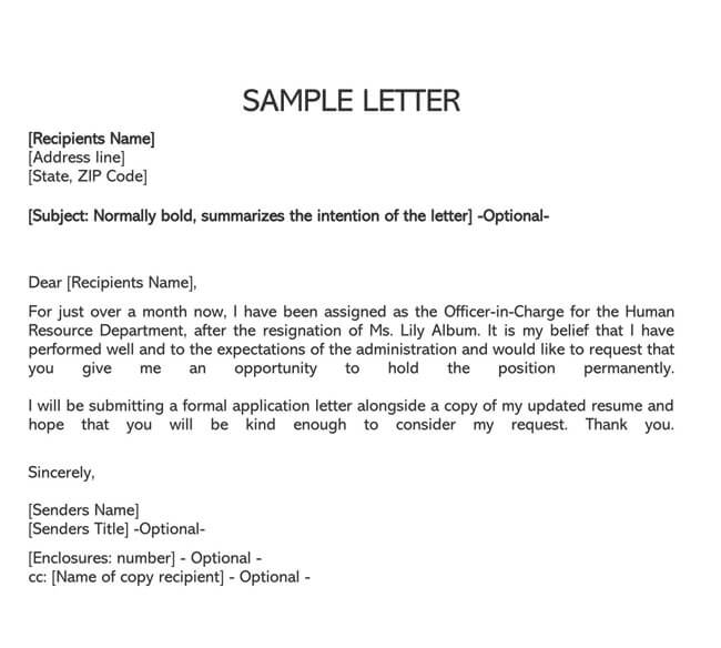 Temporary to Permanent Employment Request Letter 03