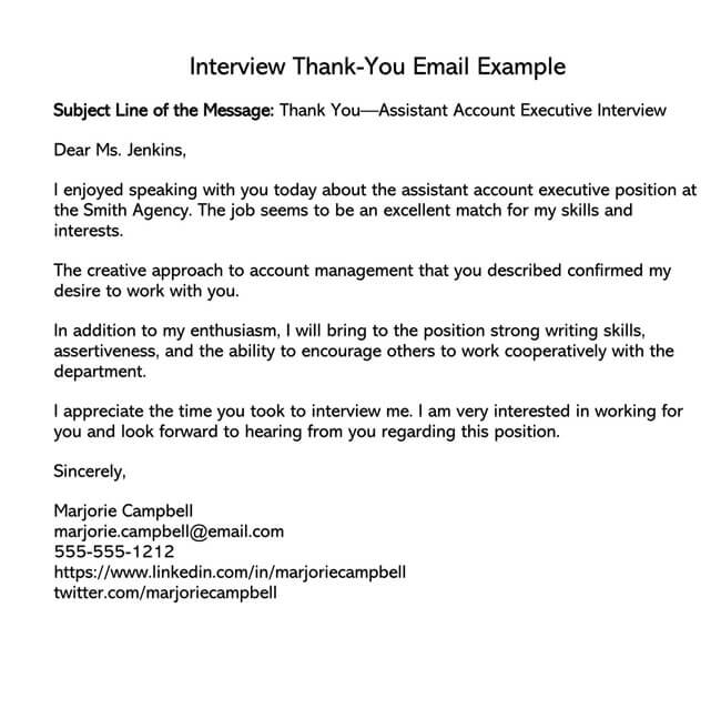 Thank You Email After Interview 03