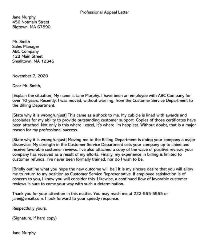 Transfer Complain Appeal Letter