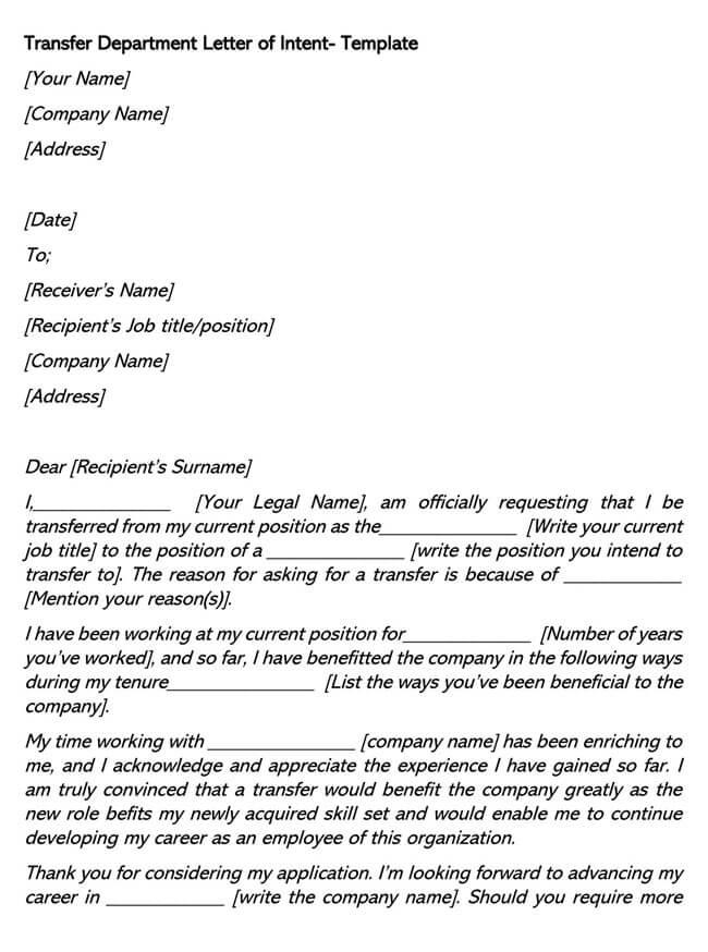 Transfer Department Job Letter of Intent 02